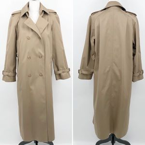 J.G. Hook Vintage Trench Coat Tan Plaid Wool Lined